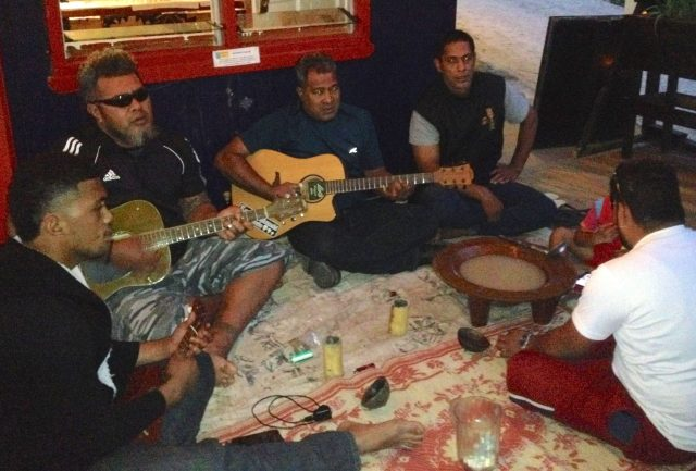 33. Kava, a traditional drink made from the kava root, was enjoyed by these local musicians who played and sang beautiful traditional Tongan music