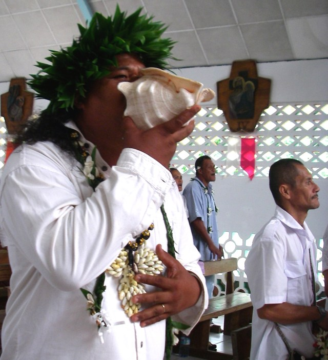 36. A Polynesian worshiped Jesus by praising the Lord by blowing the traditional conch shell horn during certain hymns in the service