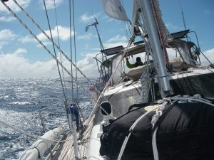 53. Here, Joyful is only one day's sail away from the landfall of Vanuatu. The winds are giving her a fresh, lively sail on this last day of the passage