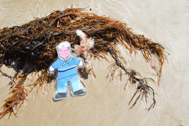 150. Flat Mr. Davis noticed some plastic pollution on the Bass Strait, Victoria, Australia, December 2015