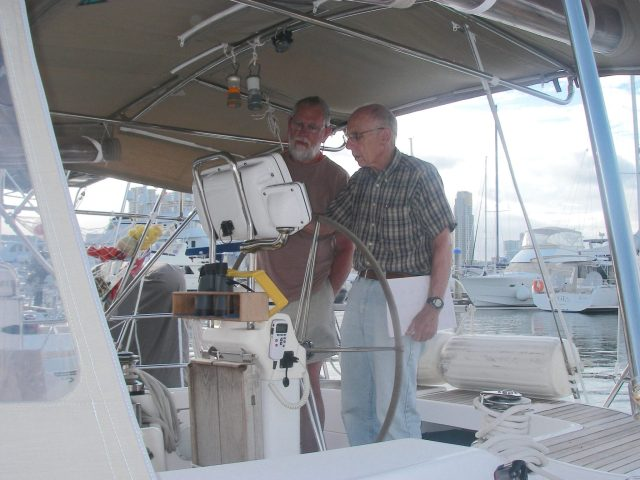 19. Rod and Jeff with Joyful's chartplotter in Southport