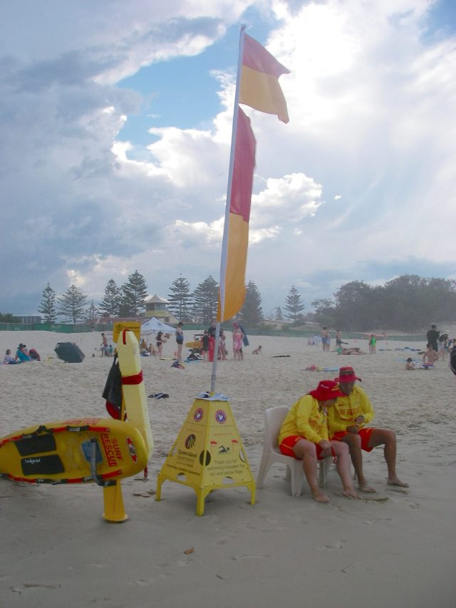 27.1. Flags warned of dangerous conditions in the surf due to the high off shore winds Joyful was avoiding