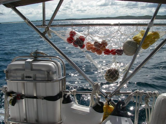 3.1. I store Joyful's fresh fruit and vegetables in cockpit nets. In the Southern Hemisphere while sailing South, I put certain ones to port or starboard, depending on their tolerance t