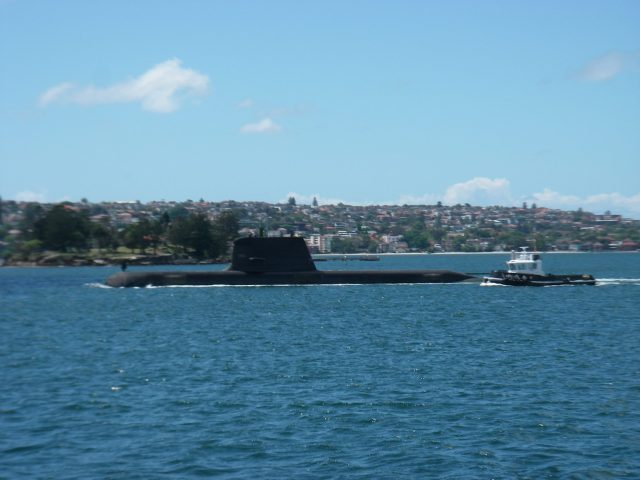 39.1. Here is an interesting sight! An Australian submarine with a pilot boat in Sydney Harbour, November 2015