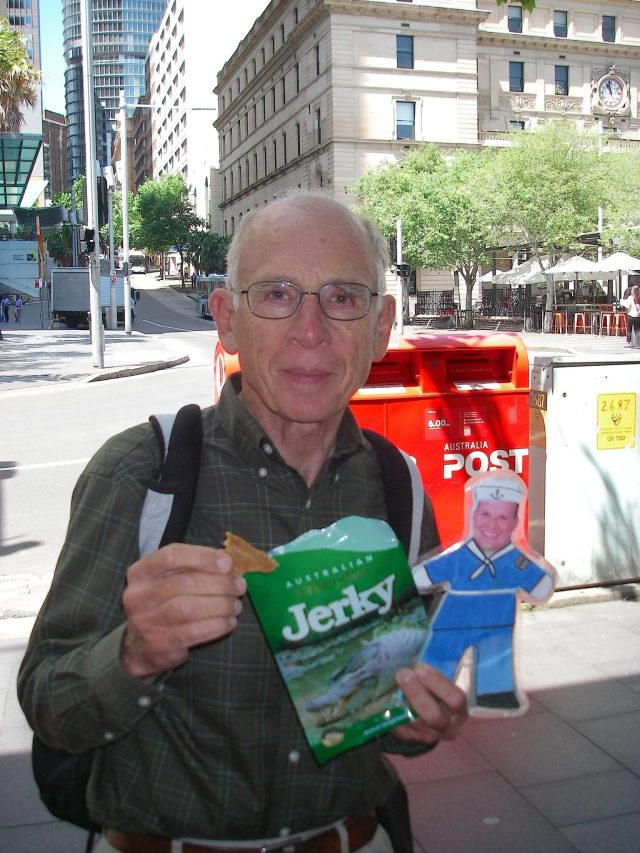 42. Flat Mr. Davis and Jeff eat crocodile jerkey in Sydney