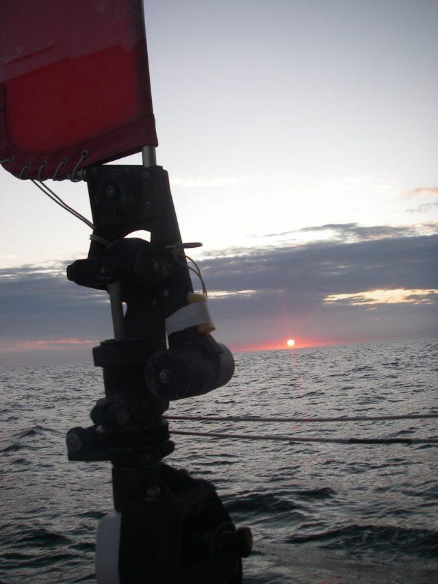 6.1. Sunrise from Joyful's cockpit on the Coral Sea.