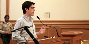 Ryan Holiday, American Apparel spokesman, spoke about the company's anti-sweatshop policies at the planning commission hearing on Feb. 5.