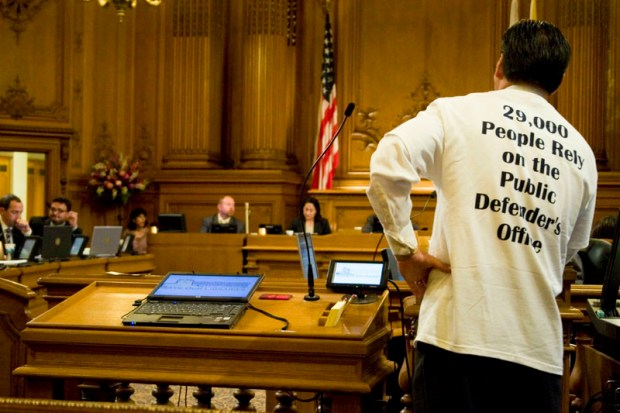 Public Defender Jeff Adachi defends his department to the Board of Supervisors