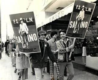 Roberto Vargas and Alejandro Murguia demonstrating in solidarity for Nicaragua.