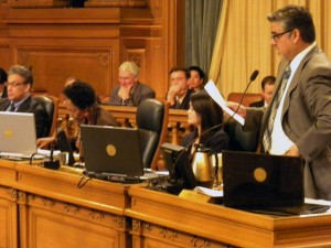 Supervisor John Avalos presents the ordinance to Board on Tuesday.