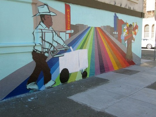 The icecream vendor looks pretty finished. Twick, the muralist, has been painting in the Bay Area since the 1980's.