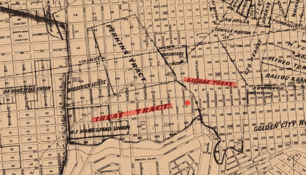 "An official map of San Francisco produced in 1870 shows the approximate original location of the Treat home (red dot) clearly within the parameters of an area marked ""Treat Tract"". George Treat owned an adjacent plot that encompassed the area occupied today by San Francisco General Hospital in Potrero Avenue. Map courtesy of San Francisco..."