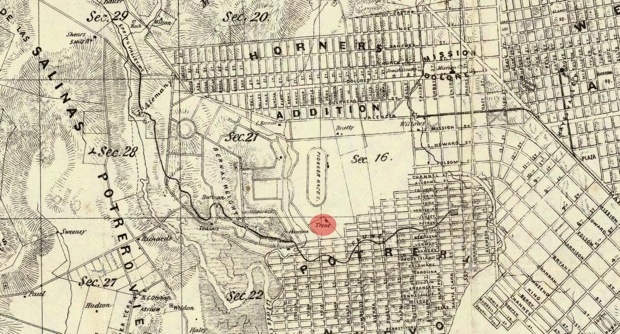 A map from 1861 clearly shows the Treat home (highlighted in red) situated on a vacant tract near its current location on Hampshire Street between 24th and 25th Streets. Pioneer Race Course (oval above the home), the city's first horse-racing track, sat just west of the house. Map courtesy of San Francisco Public Library.