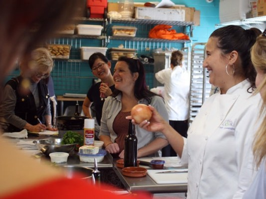 At the beginning of the class, chef Cassandra Strus Cammons joked that the best way to cut onions without crying is to get someone else to do it instead.