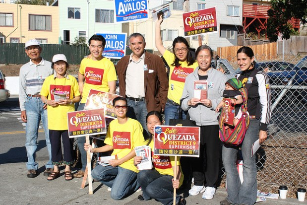 Eric Quezada with a group of supporters during his campaign for District 9 Supervisor.  Photo credit: by sashax, flickr