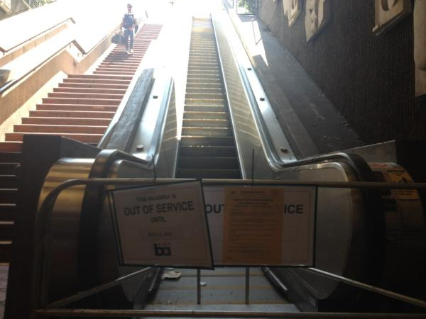 The 24th street BART station escalator has been out of service since April. Photo by Rigoberto Hernandez.