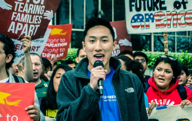 Li speaks out during a rally about undocumented students. Photo by Adrian Gonzales.