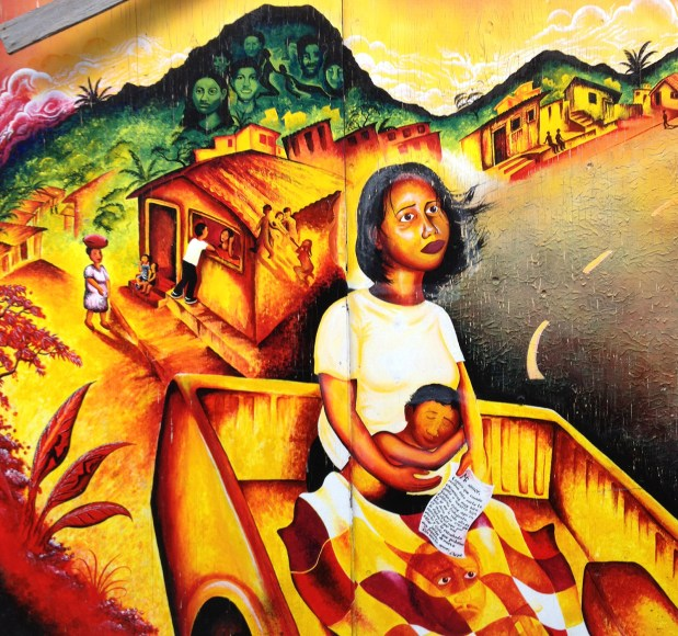 Mural of woman and child on Balmy Alley