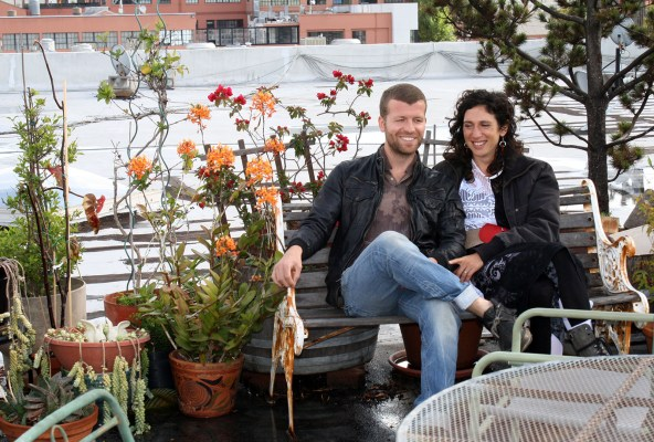 Danielle and Roland Cohen on the Developing Environment rooftop garden.