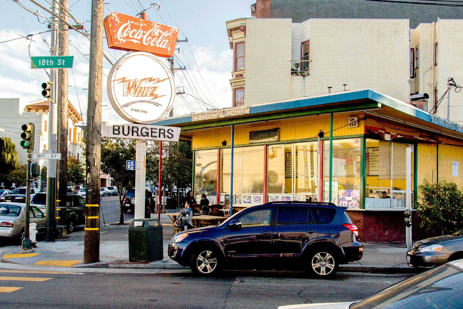 wide shot of Whiz Burgers on 18th Street