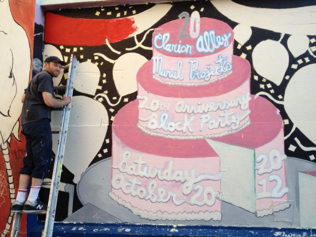 Daniel Doherty painting for the Clario Alley Mural Project 20th Anniversary.