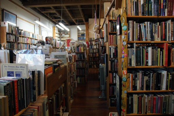 The store is chock-full of books and political ephemera.