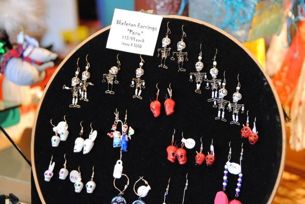 Image shows skeleton earrings