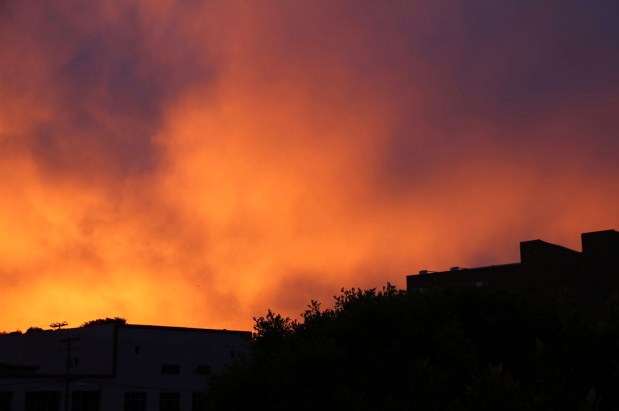 Sunrise from the Mission Local office. Photo by Molly Oleson