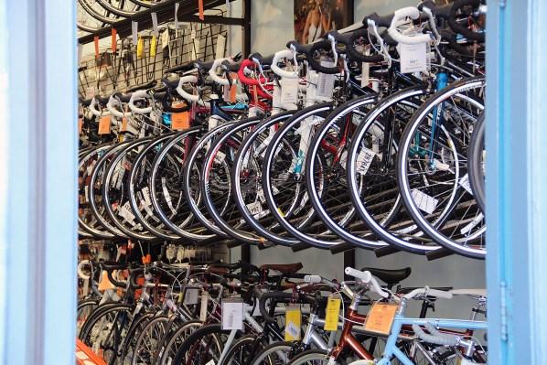 The bikes inside Valencia Cyclery on Valencia Street.
