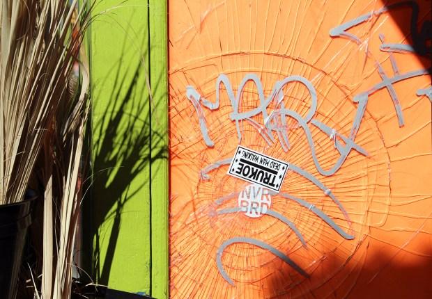 A broken window on Mission Street.