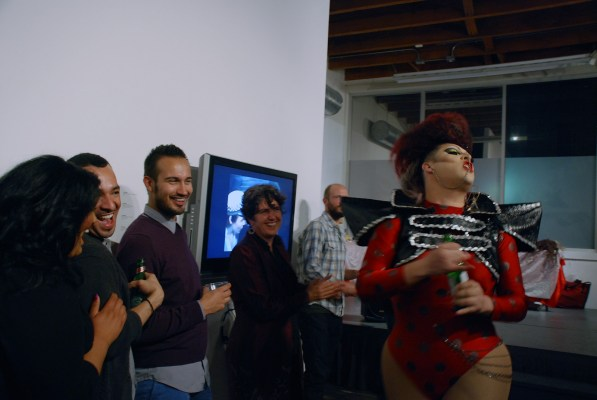 "Drag performer Jenna Talia entertaining the audience during the opening of the exhibition ""Strange Bedfellows"" on June 8 2013"""