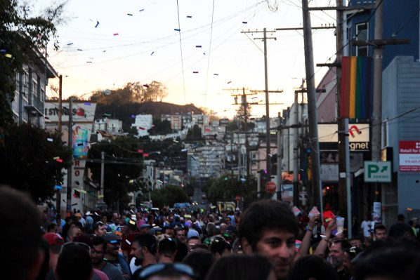 The sun set over Castro Street as confetti rained down on revelers.