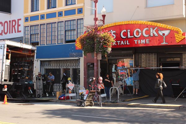 "A lot of activity outside of Doc's Clock today. A new HBO show called ""Looking'"" is filming in the no-frills bar across from the Mission Local office on 22nd and Mission streets. Photo by Alexandra Garretón."