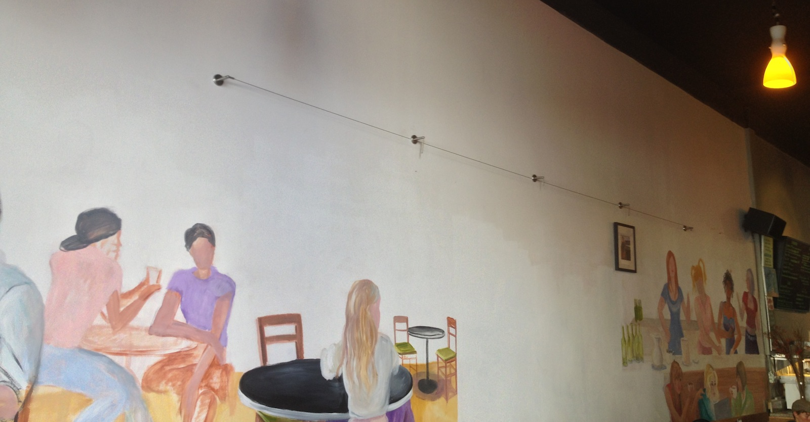 The unfinished mural in Mission Creek Cafe. Photo by Emily Gibson.