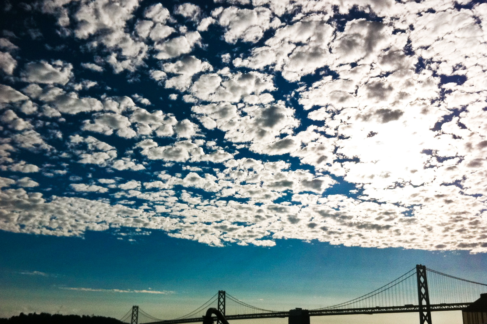 Clouds over Bay Bridge.