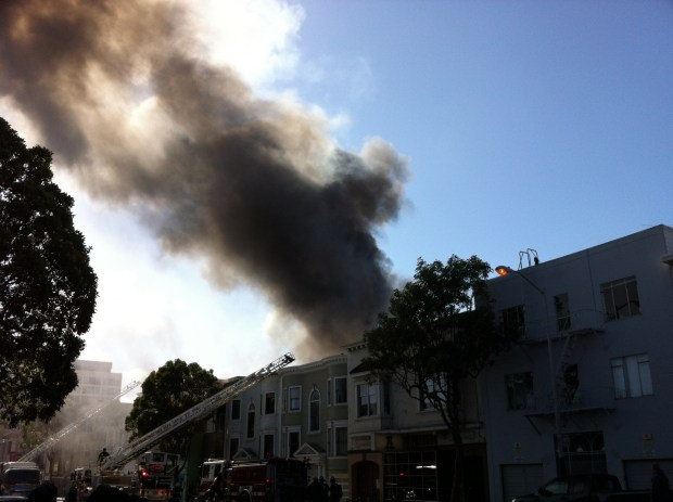 Extinguishing Monday's fire required the help of 100 fire personnel. Photo: Andrea Valencia
