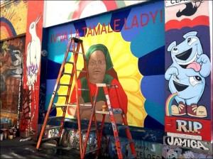 Mural of Tamale Lady on Clarion. Photo courtesy of Tamale Lady indiegogo page.