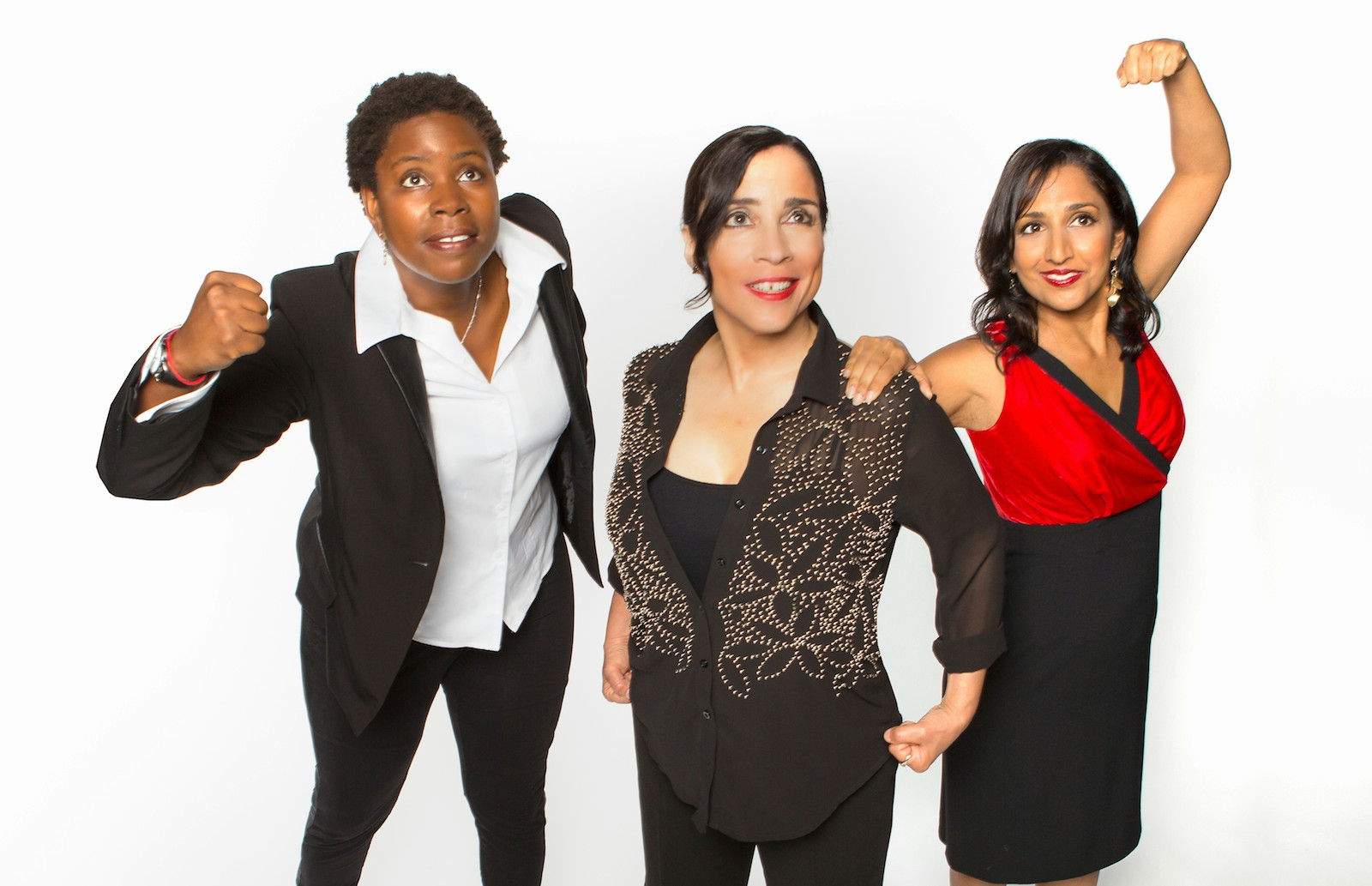 Three comics perform a New Year's Eve benefit at the Brava Theater, (left to right) Micia Mosley, Marga Gomez,  and Dhaya Lakshminarayanan. Photo by David Wilson.