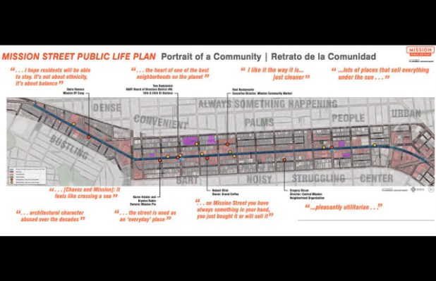 Outline of the project area for Mission Street Life Plan with quotes from stake holders. Image courtesy of the San Francisco Planning Department.