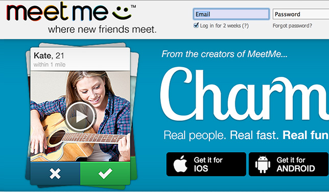 Screenshot of MeetMe's website.