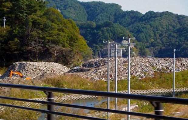 Concrete rubble was trucked to a separate area. This is what remains of homes, businesses, schools and hospitals of Otsuchi.