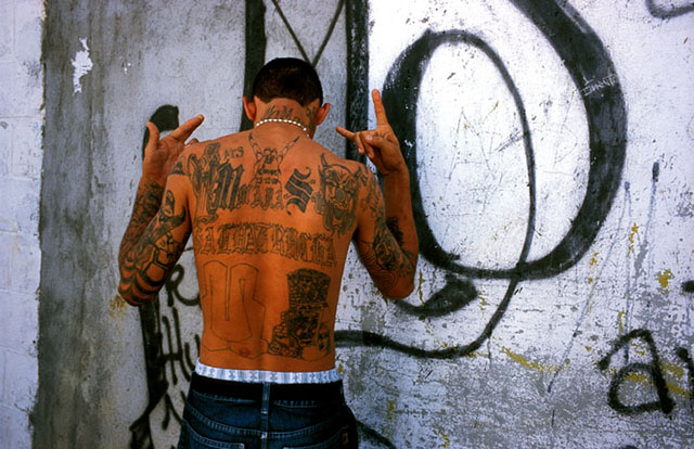 A member of the MS2 Gang in El Salvador. Photo by Mimi Chakarova