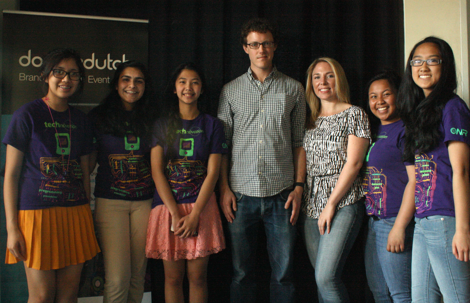 One of ICA's Technovation teams pose with mentors from Double Dutch. Photo by Daniel Hirsch.