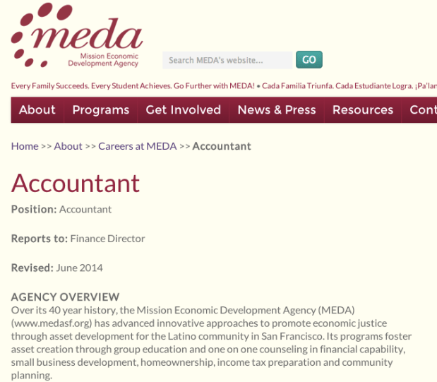 Screenshot of the job position at MEDA