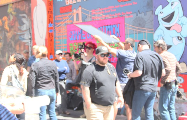 Quick glimpse of Lana Wachowski shooting new Netflix series on Clarion Alley. Photo by Joe Rivano Barros.