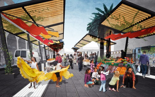 An artist's rendition of what the Mercado Plaza might look like. Image courtesy of Mission Community Market