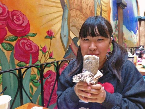 Moeka's first Burrito experience at La Corneta.  This is not a New York burrito.