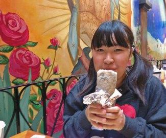 Moeka's first Burrito experience at La Corneta.
