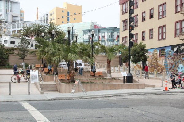 """The plaza redone. There will be community events featuring live music and dance throughout the summer and fall to """"activate"""" McCoppin Plaza, explained Patrick Simms. Photo by Leslie Nguyen-Okwu."""