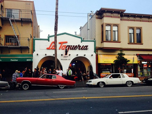 Lowriders outside of La Taqueria